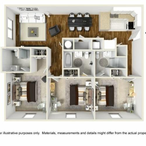 Abbotts Run Apartments - Kure Floor Plan