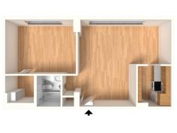 1 Bedroom Floor Plan | 2424 Penn 1