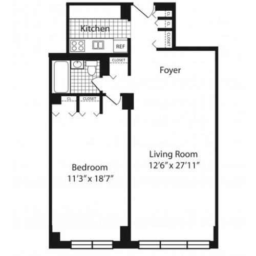 One Bedroom H Line Floors 2-10