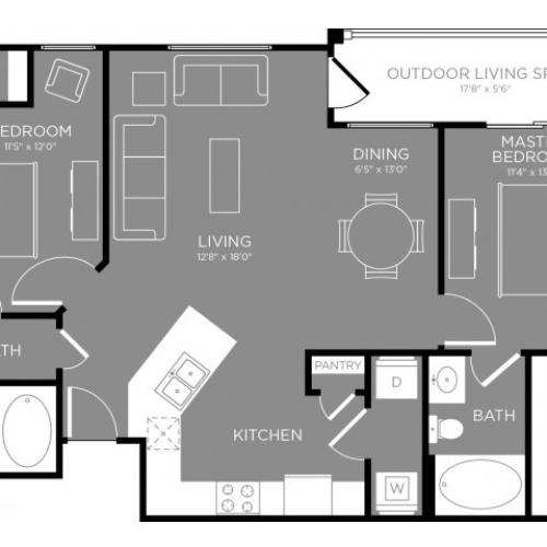 Floor Plan 3 | Apartments Aubrey TX | The Estates 3Eighty