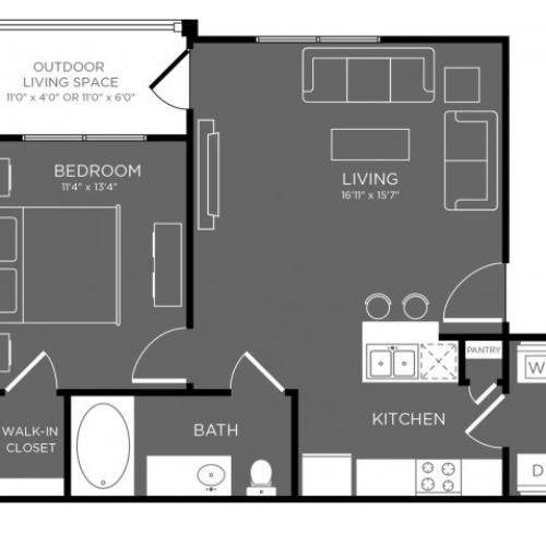 3D Floor Plan 1 | Apartments Conroe TX | The Mansions Woodland