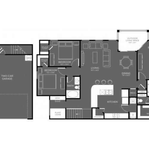 3D Floor Plan 13 | Apartments The Woodland TX | The Mansions Woodland