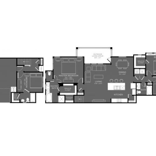 3D Floor Plan 14 | Apartments The Woodland TX | The Mansions Woodland