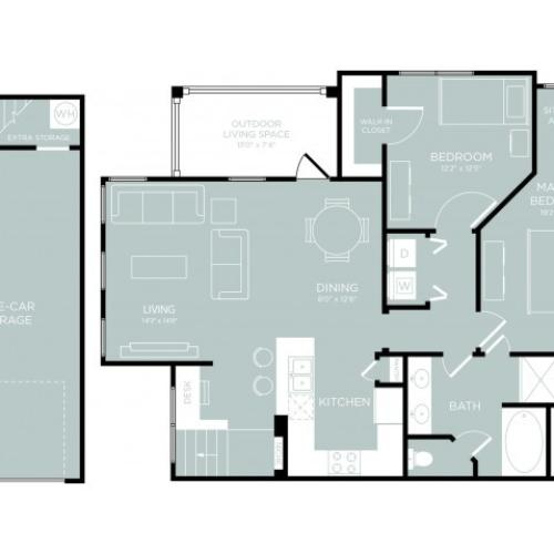 3D Floor Plan 9 | One Bedroom Apartments Austin | The Mansions at Lakeway