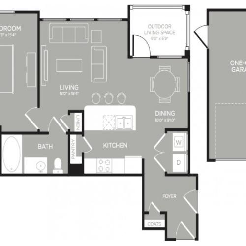 3D Floor Plan 5 | Austin Apartments | The Mansions at Lakeway