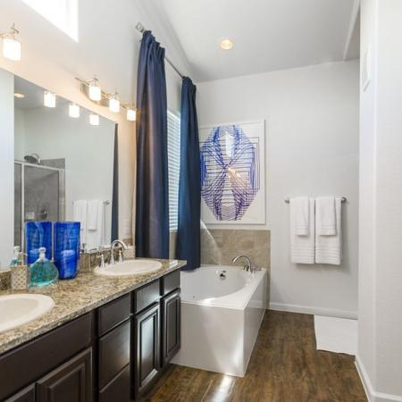 Spacious Master Bathroom | Little Elm TX Apartments | The Mansions 3Eighty