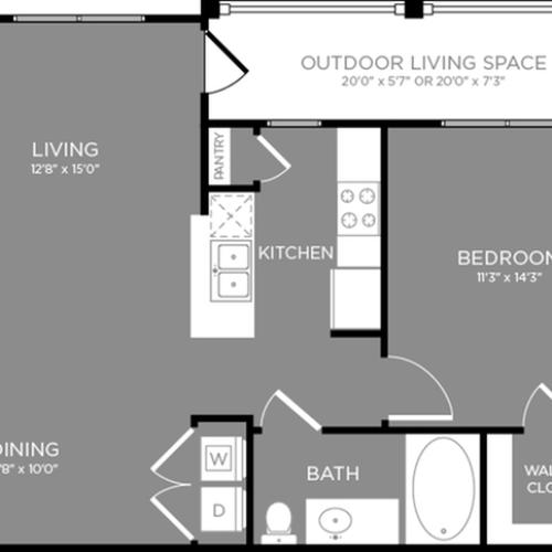 Floor Plan 2 Layout 2 | Apartments For Rent In Aubrey TX | The Estates 3Eighty
