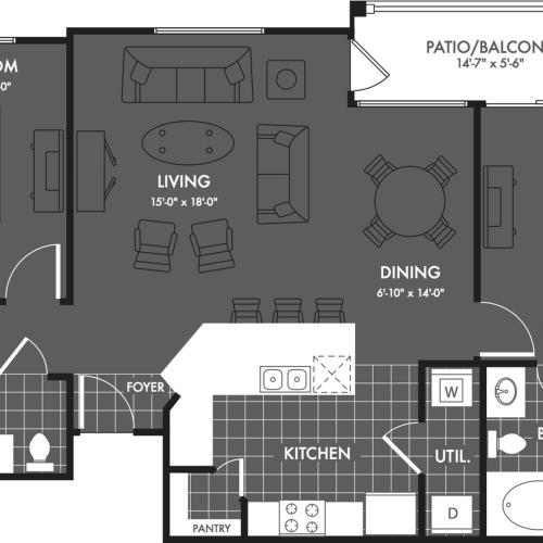 2 Bdrm Floor Plan | San Antonio Apartments | The Estates at Briggs Ranch 1
