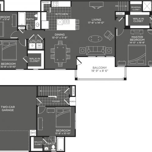 4 Bedroom Floor Plan | San Antonio Apt | The Mansions at Briggs Ranch