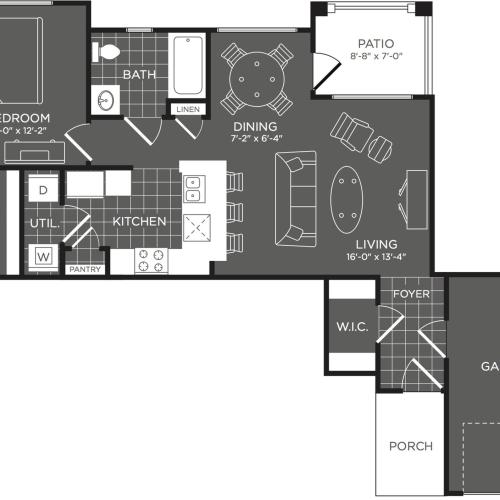 1 Bdrm Floor Plan | 2 Bedroom Apartments In San Antonio | The Mansions at Briggs Ranch