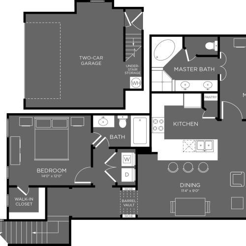3D Floor Plan 11 | Apartments The Woodland TX | The Mansions Woodland