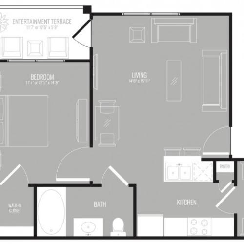 1 Bedroom Floor Plan | Apartments For Rent In Richardson Texas | The Mansions at Spring Creek
