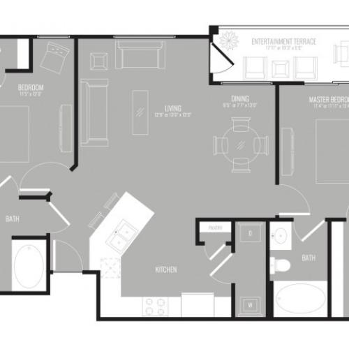 2 Bedroom Floor Plan   Apartments Richardson Texas   The Mansions at Spring Creek