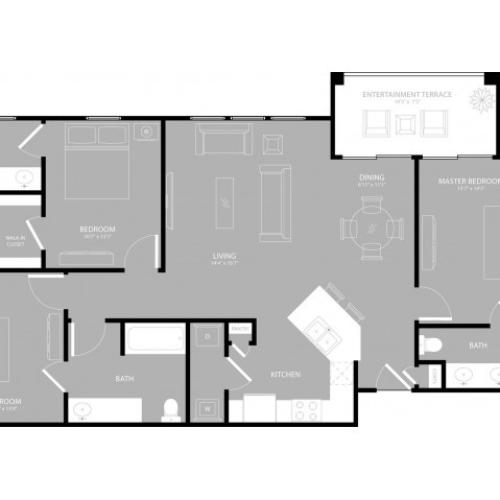 Floor Plan 3 | Apartments Richardson Texas | The Mansions at Spring Creek