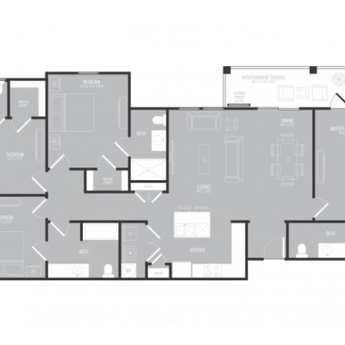 4 Bedroom Floor Plan | 3 Bedroom Apartments In Garland TX | The Mansions at Spring Creek
