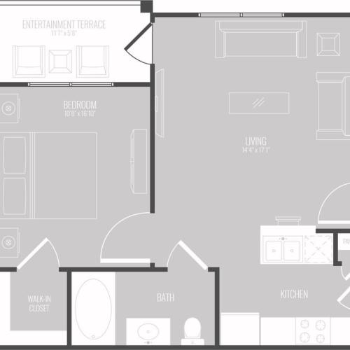 1 Bedroom Floor Plan | Apartments For Rent New Braunfels TX | The Luxe at Creekside