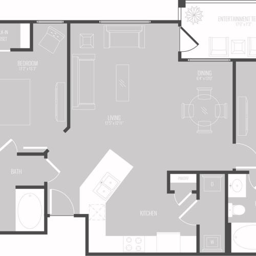 2 Bedroom Floor Plan | Apartments In New Braunfels | The Luxe at Creekside