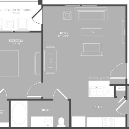 Floor Plan 1 | Apartments In Garland TX | The Towers at Spring Creek