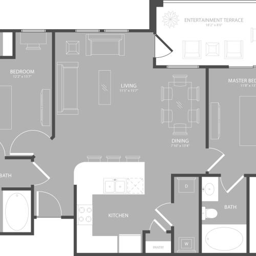 Floor Plan 3 | Apartments In Garland | The Towers at Spring Creek