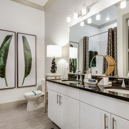 Spacious Double Vanity Bathroom   Apartments In Garland Texas   The Towers at Spring Creek