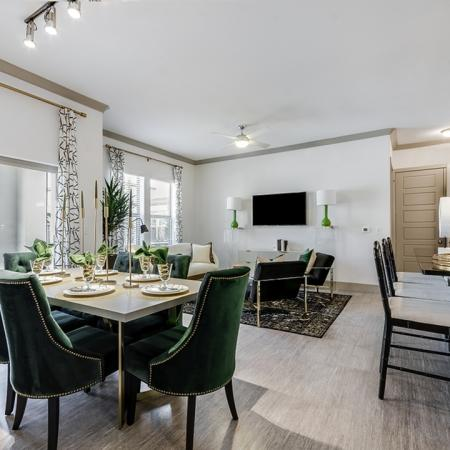 Elegant Dining Room   3 Bedroom Apartments In Garland TX   The Towers at Spring Creek
