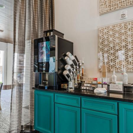 Resident Coffee Bar   Apartments In Garland TX   The Towers at Spring Creek