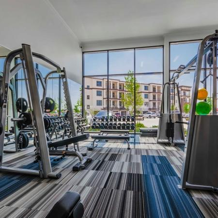 Resident Fitness Center   Apartments In Garland Texas   The Towers at Spring Creek