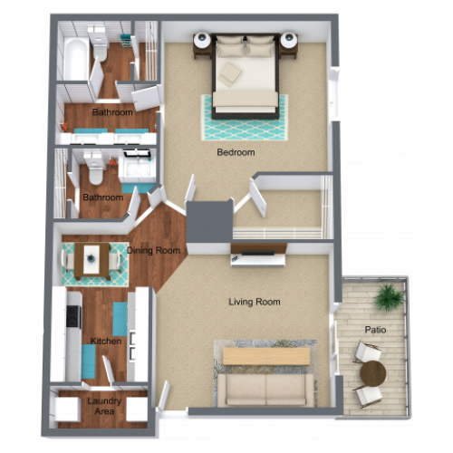 1 Bed - 1.5 Bath - 930 sq. ft.