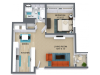 1 Bed 1 Bath 758 Sq. Ft.