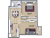 1 Bed 1 Bath 930 Sq. Ft.