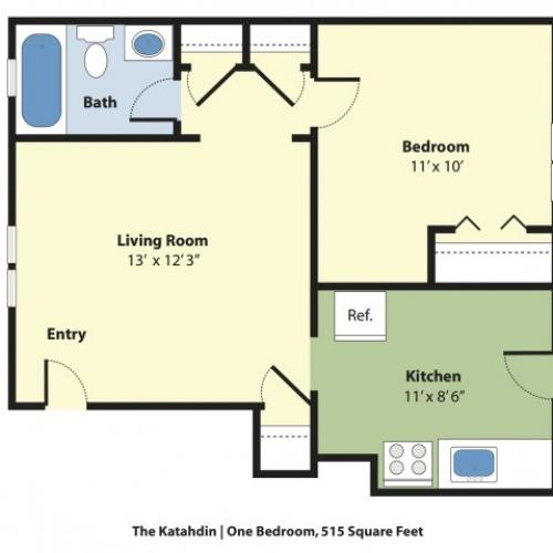 1 Bedroom Floor Plan | Apartments For Rent Near Portland Maine | Princeton on Back Cove