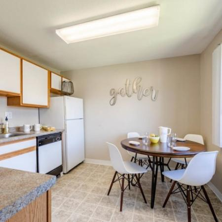 Kitchen/dining area of Princeton Reserve apartments near UMASS Lowell.