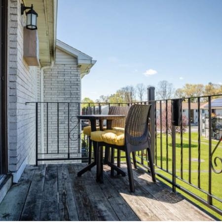 Balcony at Princeton Reserve apartment rentals in Dracut, MA.