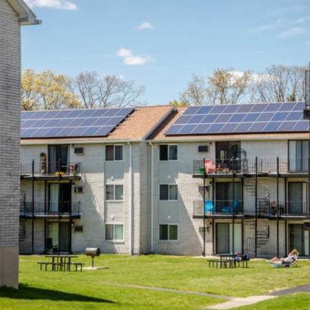 Exterior view showing balconies of Princeton Reserve rentals in Dracut, MA.