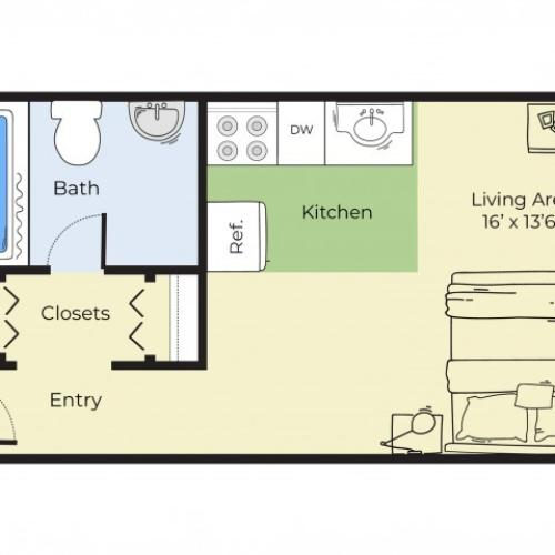 Studio Floor Plan   Apartments In South Lawrence MA   Princeton at Mount Vernon