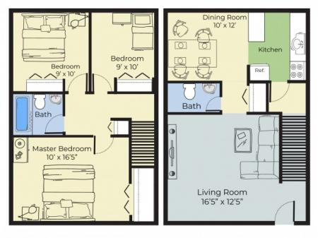 3 Bedroom Townhouse Floor Plan | Apartments Near Nashua Nh | Forest Ridge Apartments