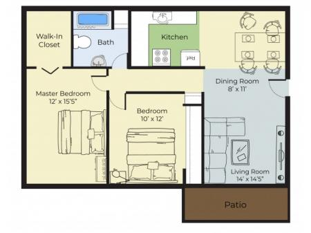 2 Bedroom Floor Plan | Haverhill Ma Apartments For Rent | Princeton Bradford Apartments
