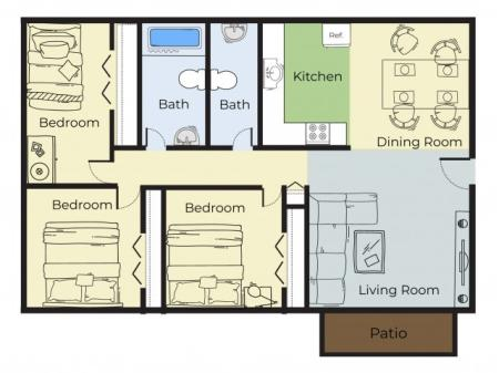 3 Bedroom Floor Plan | Apartments Near Haverhill Ma | Princeton Bradford Apartments