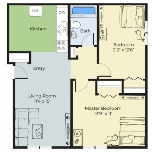 2 Bedroom Floor Plan   Apartments In South Lawrence MA   Princeton at Mount Vernon