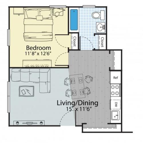 1 Bedroom Floor Plan | Apartment For Rent Dover NH | Princeton Dover