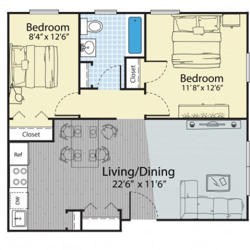 2 Bedroom Floor Plan | Dover NH Apartment Buildings | Princeton Dover
