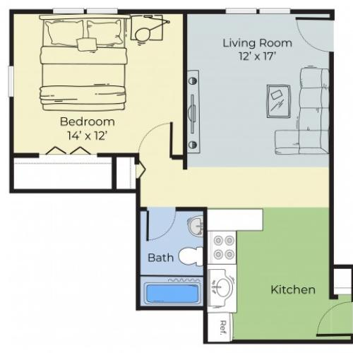 1 Bedroom Floor Plan | Apartments For Rent In Dover New Hampshire | Princeton at Mill Pond