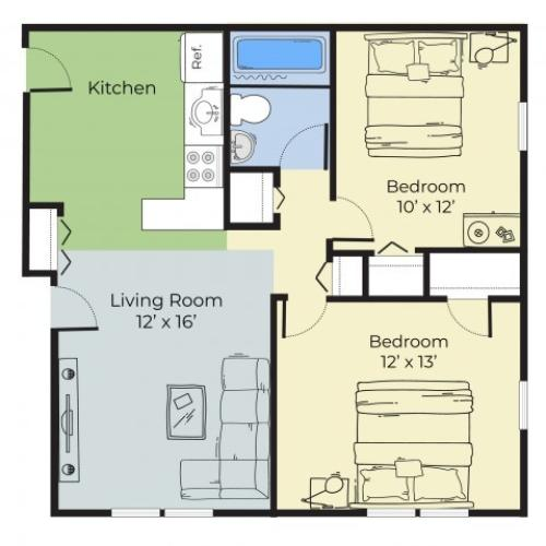 2 Bedroom Floor Plan   Dover New Hampshire Apartments   Princeton at Mill Pond