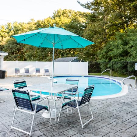 Pool & Grilling Area | Princeton Dover | Apartment Complex Dover NH