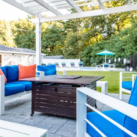 Outdoor Patio Area with Seating | Princeton Dover | Apartment Complex Dover NH