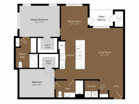 Sage 1 2 Bedroom Floor Plan | Photos | A Look Inside North Andover Apartments | Princeton North Andover