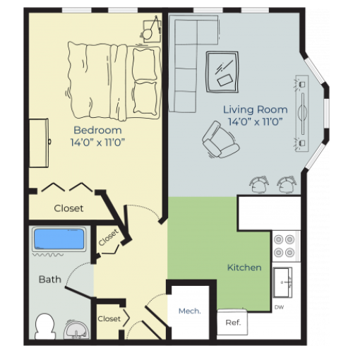 1 Bedroom Floor Plan | Apartments For Rent In Nashua Nh | Boulder Park