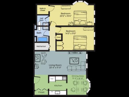 2 Bdrm Floor Plan | Nashua New Hampshire Apartments For Rent | Boulder Park
