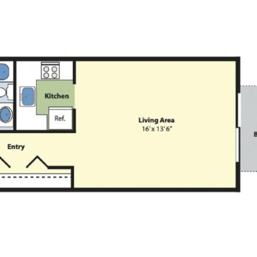 Studio Floor Plan | Apartments In Marlborough MA | Princeton Green