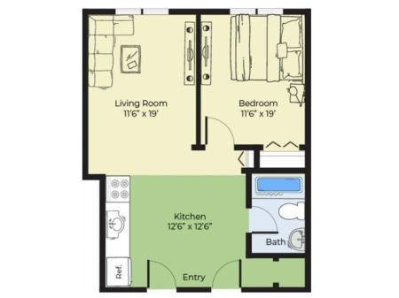 1 Bedroom Floor Plan | Apartments In Salem Massachusetts For Rent | Princeton Crossing